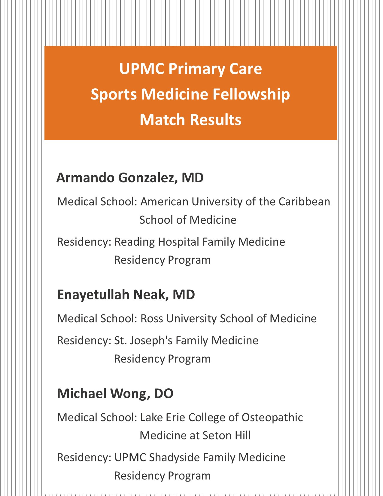 Primary Care Sports Medicine Fellowship Match Results 2018-2019